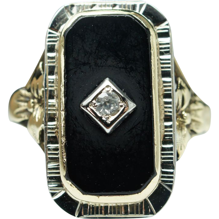 Sale - Antique Art Deco White Sapphire & Onyx Ring 18k Yellow & White Gold - Size 8.5