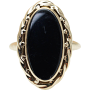 Vintage Black Coral Solitaire Ring 10K Yellow Gold