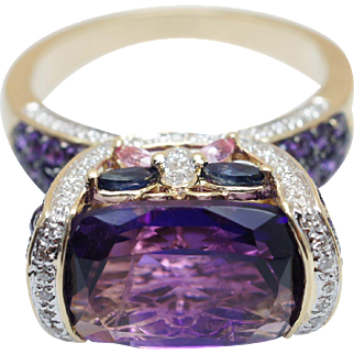 Vintage Amethyst Sapphire & Diamond Butterfly Elevated Cocktail Ring 14k Yellow Gold