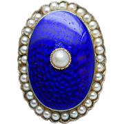 Antique Victorian Pearl & Blue Enamel Ring in 14k Yellow Gold