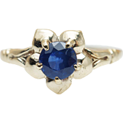 Vintage Natural Blue Sapphire 10k Yellow Gold Flower Promise Ring