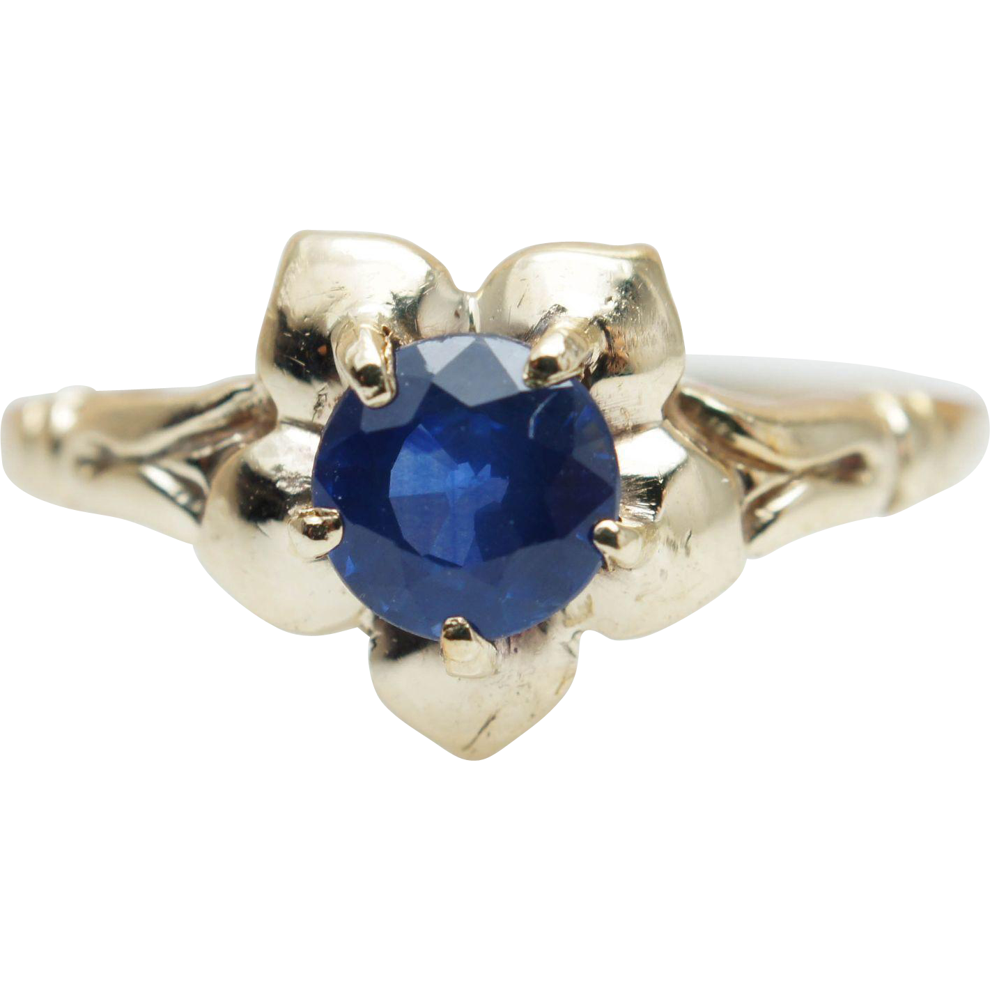 Vintage Natural Blue Sapphire 10k Yellow Gold Flower Promise Ring from jkjc o