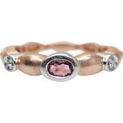 Vintage Tourmaline & Diamond Band in 14k Rose Gold