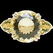 Vintage Elegant Quartz Cocktail 3 Stone Ring in 14k Yellow Gold Statement Ring Large Yellow Quartz