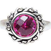 Sterling Silver & Synthetic Pink Sapphire Solitaire Ring