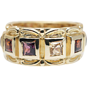Vintage Mens Garnet Band Ring in 14k Yellow Gold