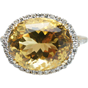 Large Oval Citrine Diamond Halo Cocktail Ring 14k Yellow Gold