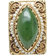 Antique Victorian Nephrite Jade & Pearl Square Cocktail Ring 14k Yellow Gold