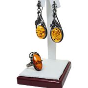 Arts & Crafts Style Amber Jewelry Set Amber Ring Amber Drop Dangle Earrings
