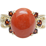 Vintage Orange Jadeite Jade & Spessartite Garnet Ring 14k Yellow Gold