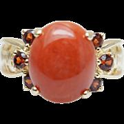Vintage Orange Jadeite Jade & Spessartite Garnet Ring 14k Yellow Gold