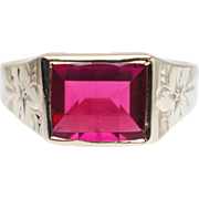 Mens 3.67CT Synthetic Ruby Band Ring in 10k Yellow Gold