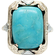 Vintage Art Deco 5.36CT Turquoise Cocktail Ring in 10k Yellow & White Gold