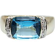 4.77CTW Blue Topaz & Diamond Cocktail Ring in 10k Yellow Gold