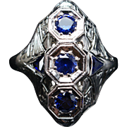 Vintage Art Deco Sapphire Cocktail Ring 18k White Gold