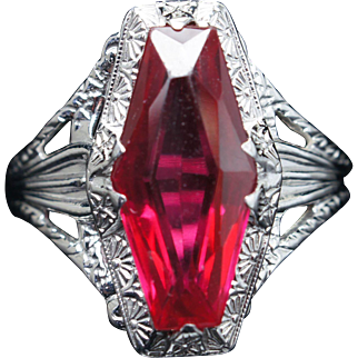 Art Deco Style Synthetic Ruby Cocktail Ring in 10k White Gold