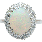 Vintage Natural Opal Diamond Halo Cocktail Ring in 14k White Gold