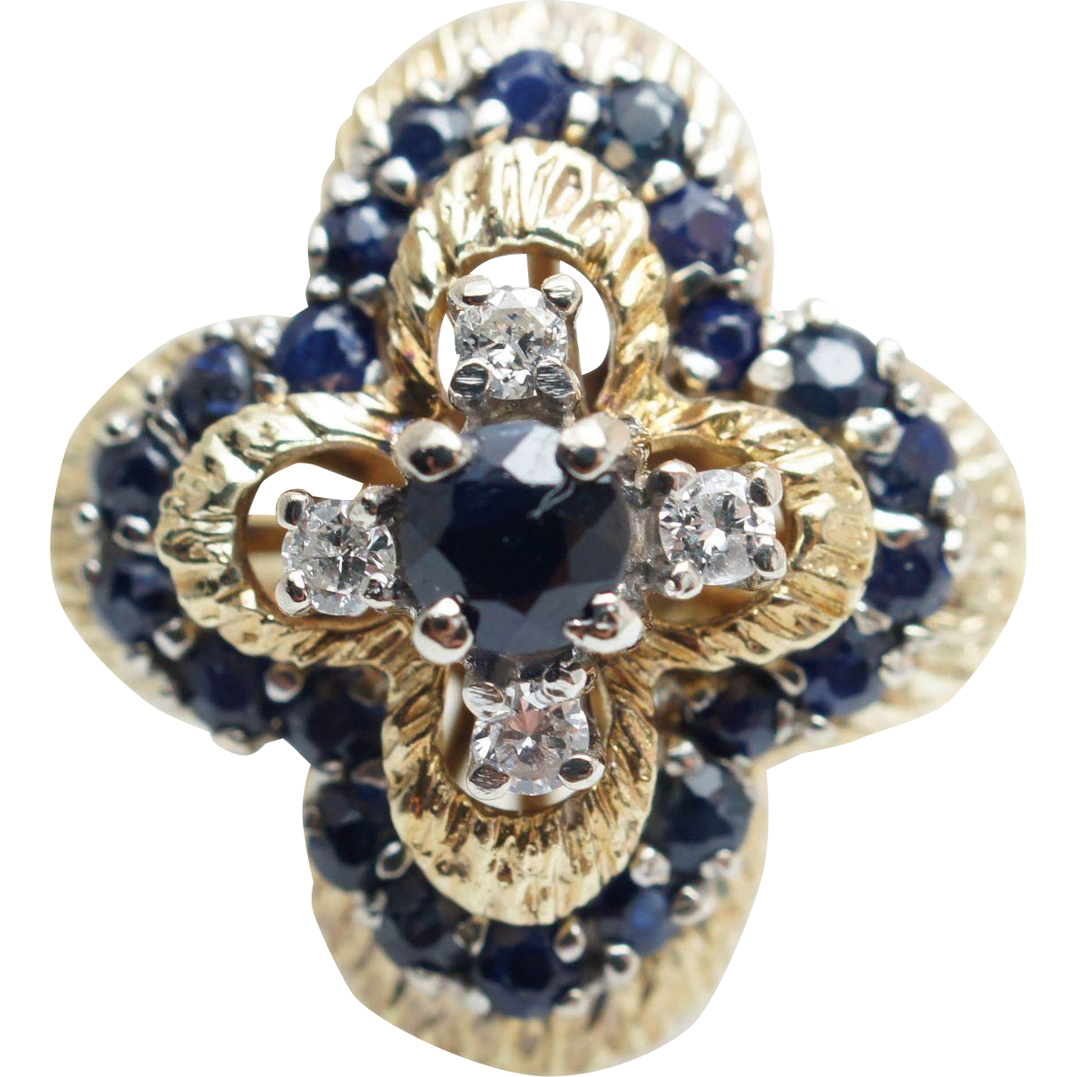 Vintage Natural 1.18CTW Sapphire & Diamond Star Ring in 14k Yellow Gold