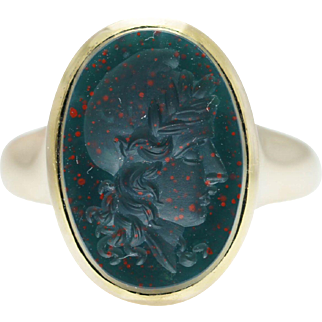 Vintage Face Engraved Bloodstone Solitaire Ring 14k Yellow Gold