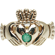 Vintage Emerald Claddagh Ring 9k Yellow Gold Made in Ireland Hallmarks