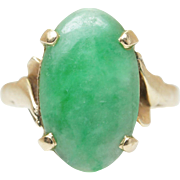 Vintage 3CT Jadeite Jade Solitaire Ring 14k Yellow Gold