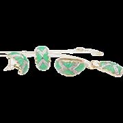 Vintage Jadeite Jade & Diamond Jewelry Set 14k White & Yellow Gold