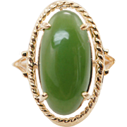Vintage Oval Nephrite Jade Solitaire Ring 14k Yellow Gold