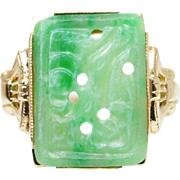 Vintage Carved Green Jadeite Jade Solitaire Ring 10k Yellow Gold