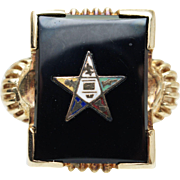 Vintage Black Coral Order of the Eastern Star Ring in 10k Yellow Gold Masonic Ring