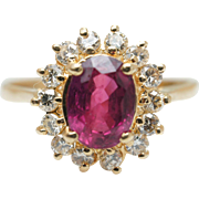 Vintage 1.55CTW Natural Ruby Diamond Halo Flower Ring in 14k Yellow Gold