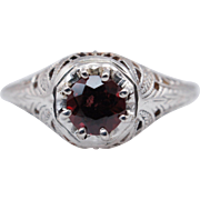 Vintage .63CTW Almandine Garnet Solitaire Ring 14k White Gold