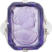 Vintage Purple Glass Cameo Solitaire Ring 14k White Gold