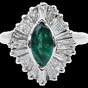 Vintage 2.10CTW Natural Emerald & Diamond Ballerina Ring 14k White Gold