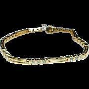 Vintage 14k Yellow Gold Diamond Link Bracelet - 7.25 inch