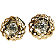 Vintage Diamond Circle Flower Stud Earrings 14k Yellow & White Gold