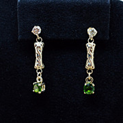 Vintage Diamond Stud & Peridot Dangle Earrings - 14k Yellow Gold