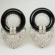 Vintage 1.79cttw Onyx & Natural Diamond Earrings with 18k Yellow & White Gold