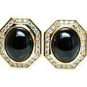 Vintage 15ct Oval Onyx Natural Diamond Earrings 18k Yellow Gold