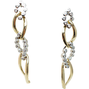 Vintage Two Tone Diamond Yellow & White Gold Drop Earrings 14K Gold