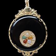 Vintage Black Jadeite Jade Crescent Pendant 14k Yellow Gold