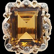 24CTW Emerald Cut Smoky Quartz Cocktail Ring Diamond Accents 14k Yellow Gold