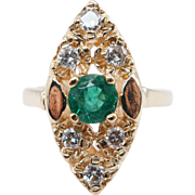 Vintage .76CTW Natural Diamond & Emerald Navette Ring 14k Yellow Gold