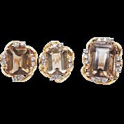 Vintage Smokey Quartz & Diamond Jewelry Set 14k Yellow Gold