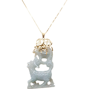Vintage White Jade Carved Pendant Necklace 14k Yellow Gold