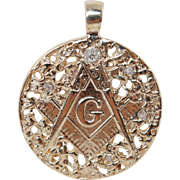 Vintage  Diamond Masonic Pendant 14k Yellow Gold