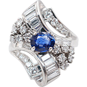 Elegant Vintage Platinum 1.98CTW Sapphire & Diamond Cocktail Bow Ring