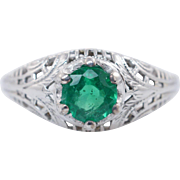 Vintage Late Edwardian .45CTW Emerald Solitaire Ring 18k White Gold