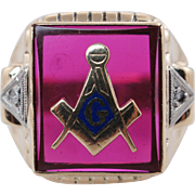 Vintage Mens Ruby, Diamond, & Enamel Masonic Ring 10k Yellow Gold