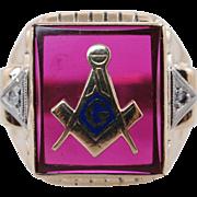 Vintage Mens Ruby, Diamond, & Enamel Masonic Ring 10k Yellow Gold