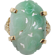 Vintage Carved Jadeite Jade Solitaire Ring 14k Yellow Gold